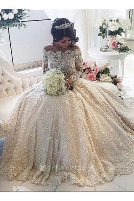 a35a001428ae Beautiful Lace Long Sleeve Princess Wedding Dresses 2018 Ball Gown With  Appliques