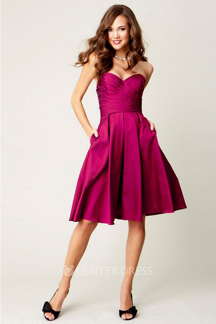 A-Line Short Sleeveless Criss-Cross Sweetheart Satin Bridesmaid Dress