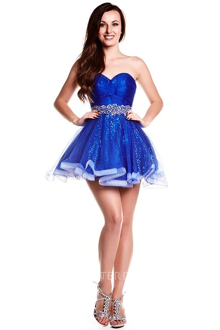 A-Line Sweetheart Beaded Sleeveless Short Sequins&Tulle Prom Dress With Waist Jewellery And Ruffles