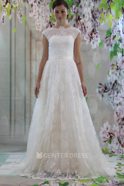 High Neck Cap Sleeve A Line Lace Wedding Dress With Court Train