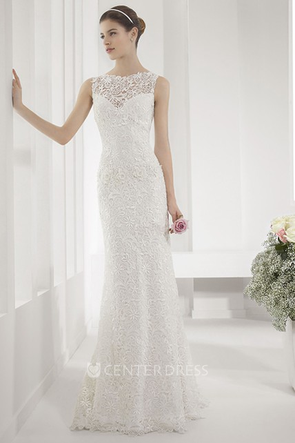 2efb408bcfd1 Allover Lace Illusion Neck Sheath Wedding Gown With Back Keyhole ...