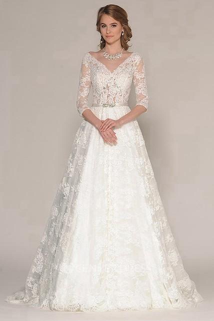 376ce3304a854 A-Line 3-4-Sleeve Appliqued V-Neck Maxi Lace Wedding Dress - UCenter ...