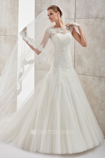 Jewel Neck Cap Sleeve Wedding Dress With Mermaid Style And Open Back