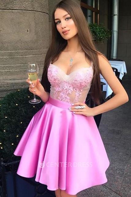 2693376b0f7d1 A-line Ball Gown Short Mini Sleeveless Straps Ruffles Satin Lace Homecoming  Dress