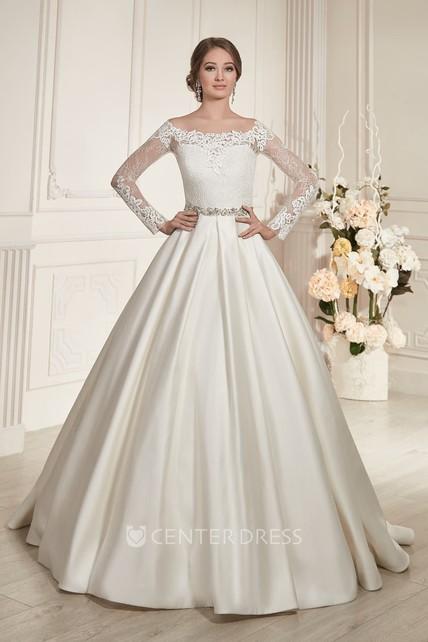 392a18eb A-Line Floor-Length Bateau-Neck Illusion-Sleeve Illusion Satin Dress With