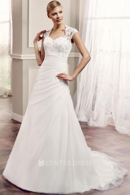 9afe349cbba A-Line Side-Draped Long Cap-Sleeve Lace Wedding Dress With Keyhole Back