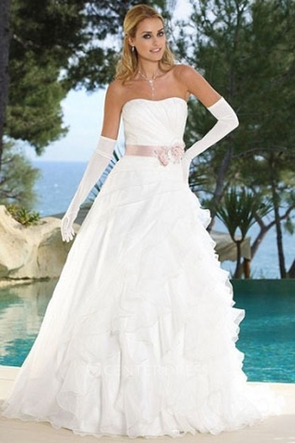 bb421691e13 A-Line Ruffled Strapless Organza Wedding Dress With Side Draping And Flower