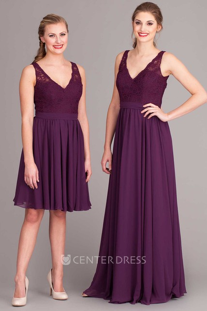Mini V-Neck Lace Sleeveless Chiffon Bridesmaid Dress With Pleats