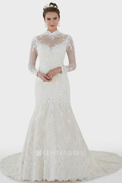 Mermaid High Neck Long Sleeve Lace Wedding Dress With Illusion And Illusion
