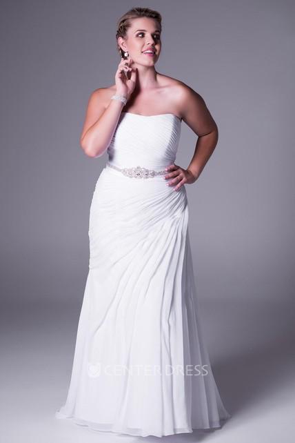 Long Strapless Draped Chiffon Plus Size Wedding Dress With Waist Jewellery  And Brush Train