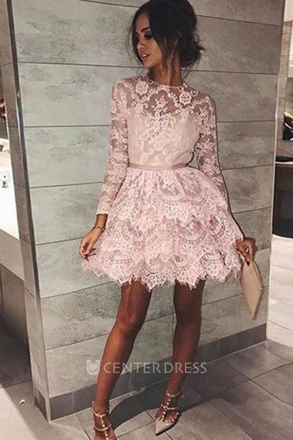a8bfb2282b365 A-line Short Mini Long Sleeve High Neck Sash Ribbon Tiers Lace Homecoming  Dress
