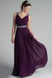 V Neck Back Dropping Chiffon Long Bridesmaid Dress With Crystal Straps And Waist
