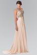 A-Line Queen Anne Sleeveless Chiffon Illusion Dress With Beading And Pleats
