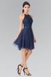 A-Line Mini Halter Sleeveless Tulle Satin Backless Dress With Embroidery
