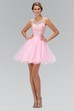 A-Line Mini Scoop-Neck Sleeveless Tulle Illusion Dress With Beading And Ruffles