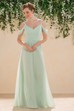 Off-Shoulder A-Line Floor-Length Bridesmaid Dress With Ruches And V-Back