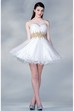 A-Line Mini Sweetheart Sleeveless Satin Dress With Ruffles And Waist Jewellery