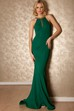 Mermaid Beaded High Neck Sleeveless Jersey Prom Dress With Brush Train