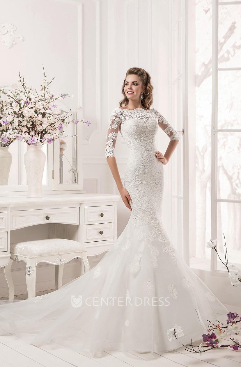 29dc47062363da Half Sleeve Scalloped Neckline Lace Mermaid Dress - UCenter Dress
