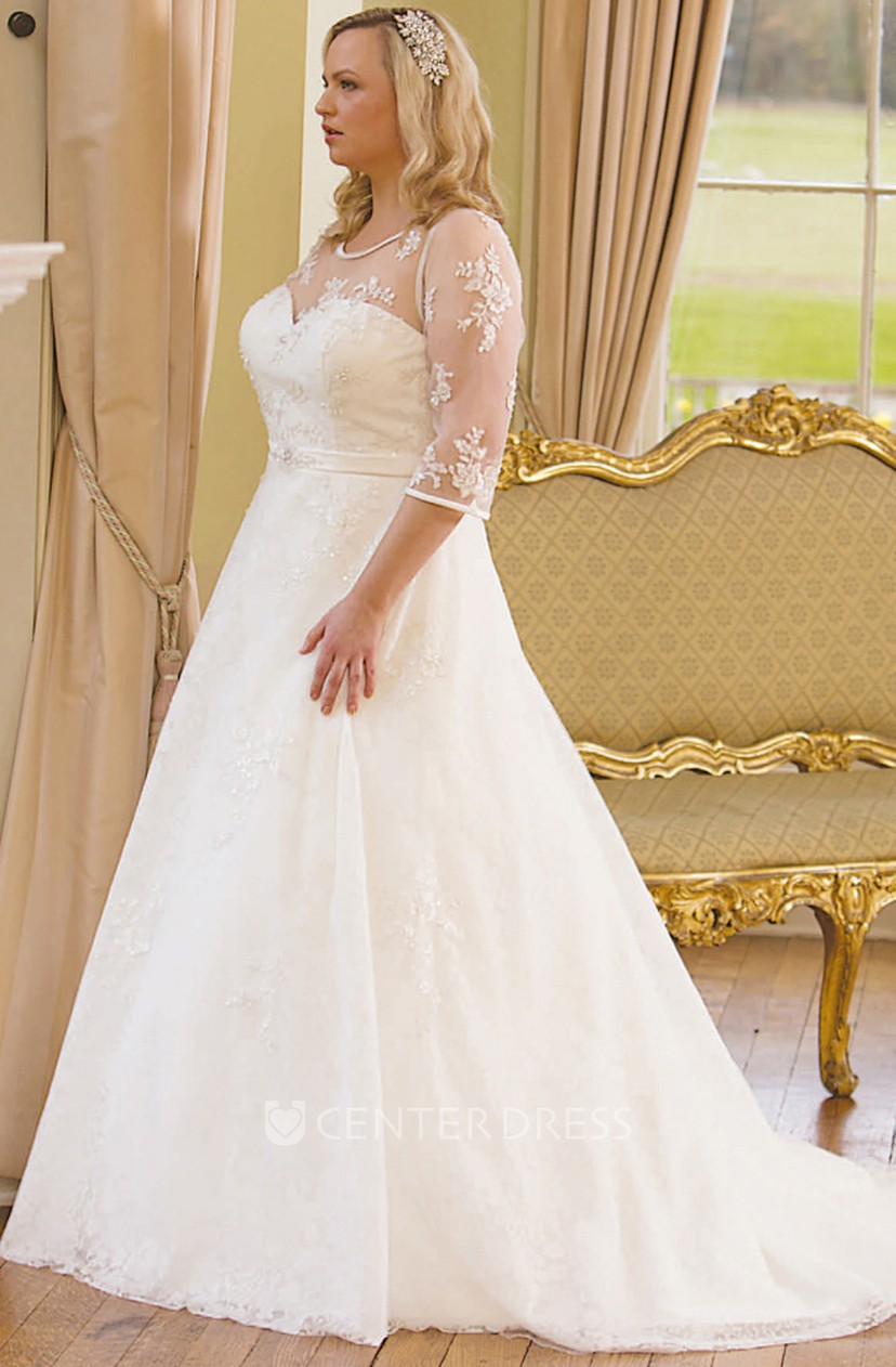 506fec780fed A-Line Scoop-Neck 3-4-Sleeve Lace Plus Size Wedding Dress With Illusion  MK_705555