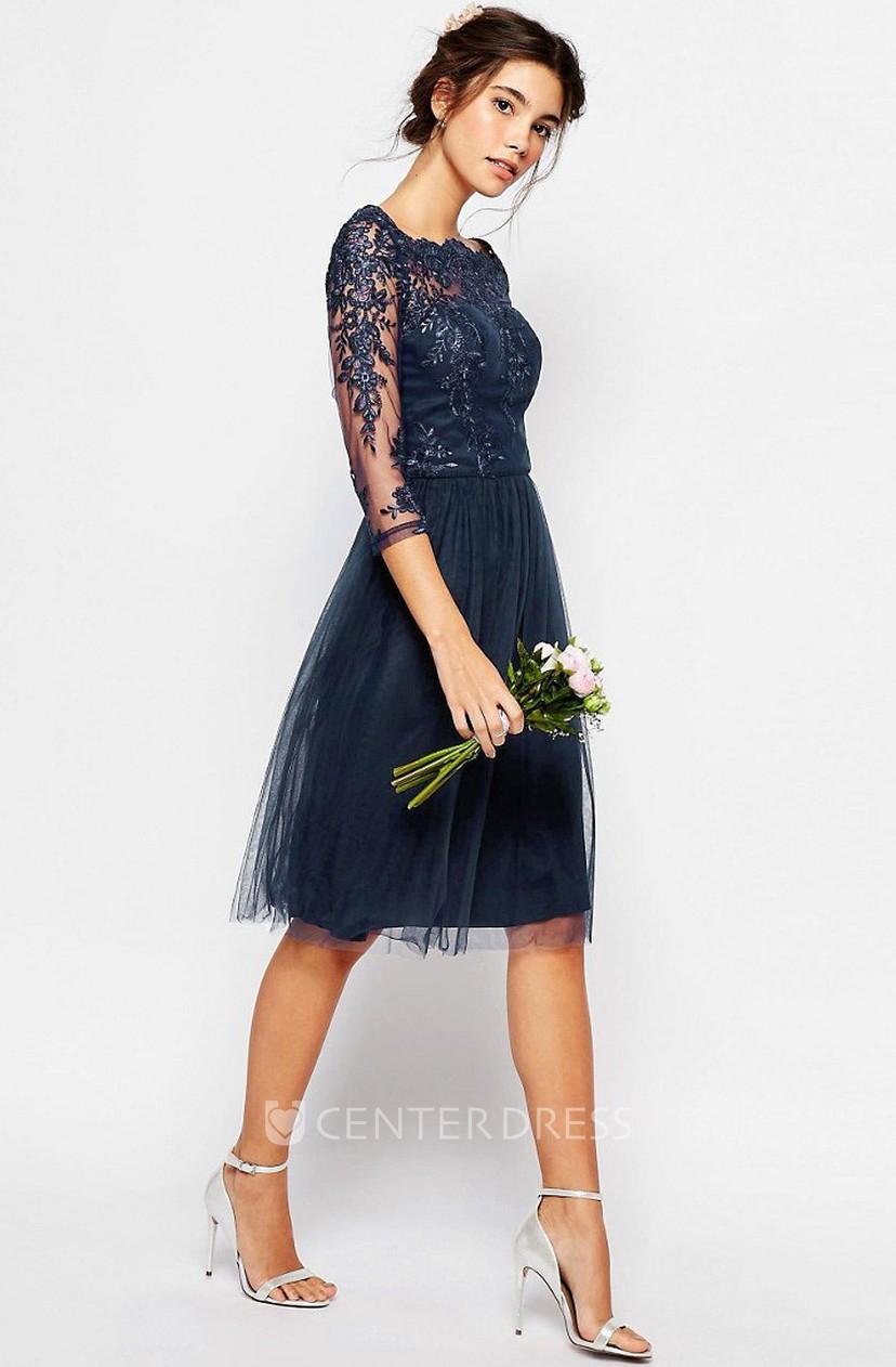 3 4 Sleeve Bateau Neck Knee Length Tulle Bridesmaid Dress With Illusion