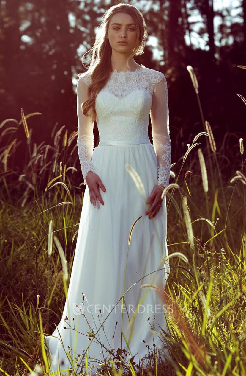 66330f7fb9737 Sheath Long-Sleeve Jewel-Neck Chiffon Wedding Dress With Illusion - UCenter  Dress